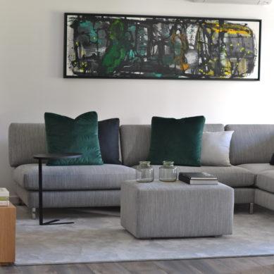decoração de interiores - sala com tons cinza